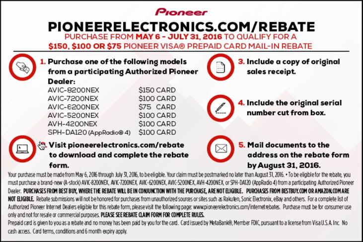 pioneer rebated details