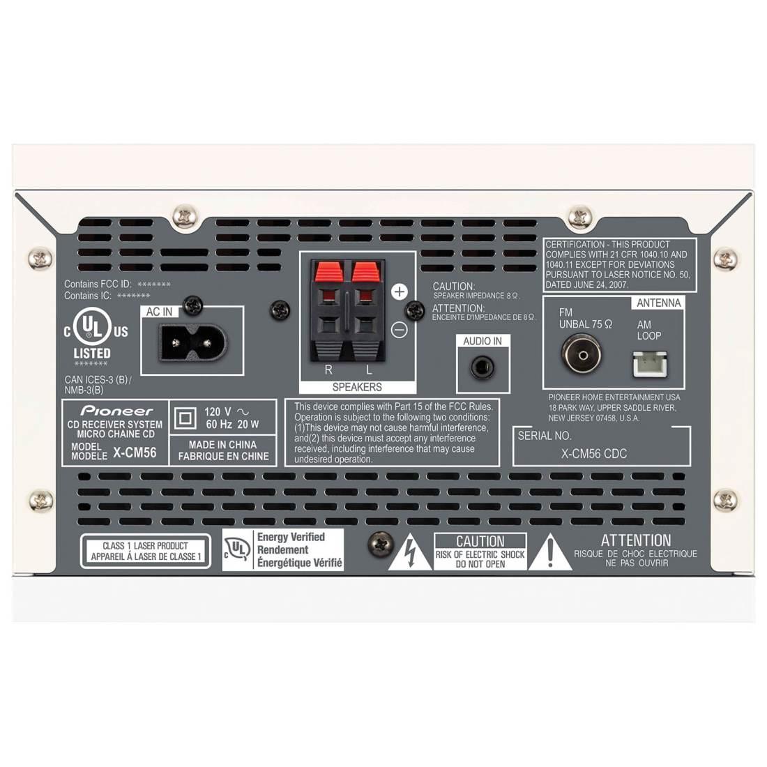pioneer x cm56b 30 watt 2 0 channel cd stereo receiver. Black Bedroom Furniture Sets. Home Design Ideas