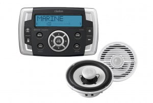 Clarion CMS2 Hideaway Marine Receiver with Bluetooth and Clarion CMG1622R Marine 2-way Speaker Kit – Pair
