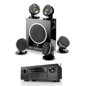 Denon AVR-S720 B Stock Receiver with Focal Dome 5.1 and Sub Air Flax Theater System - Black - Bundle