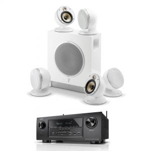 Denon AVR-S720 B Stock Receiver with Focal Dome 5.1 and Sub Air Flax Theater System -white - Bundle