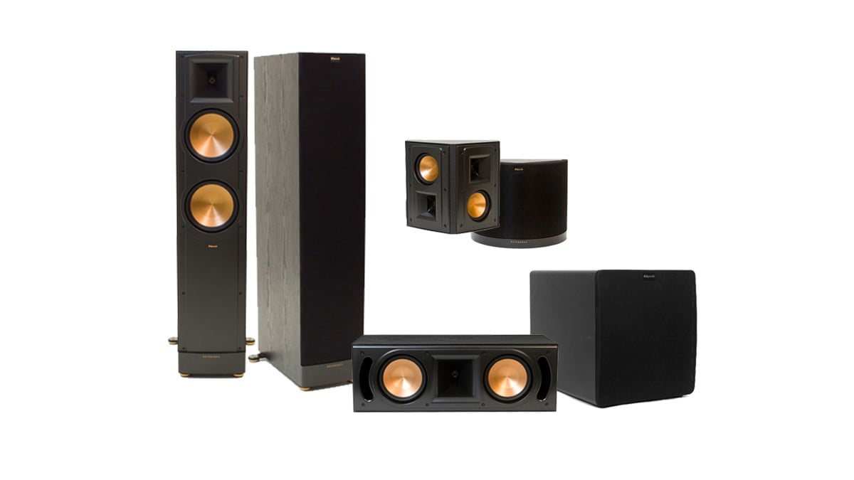 klipsch rf 82 ii floor spkr rc 62 ii center spkr rs 42 ii surround spkrs sw 112 sub. Black Bedroom Furniture Sets. Home Design Ideas