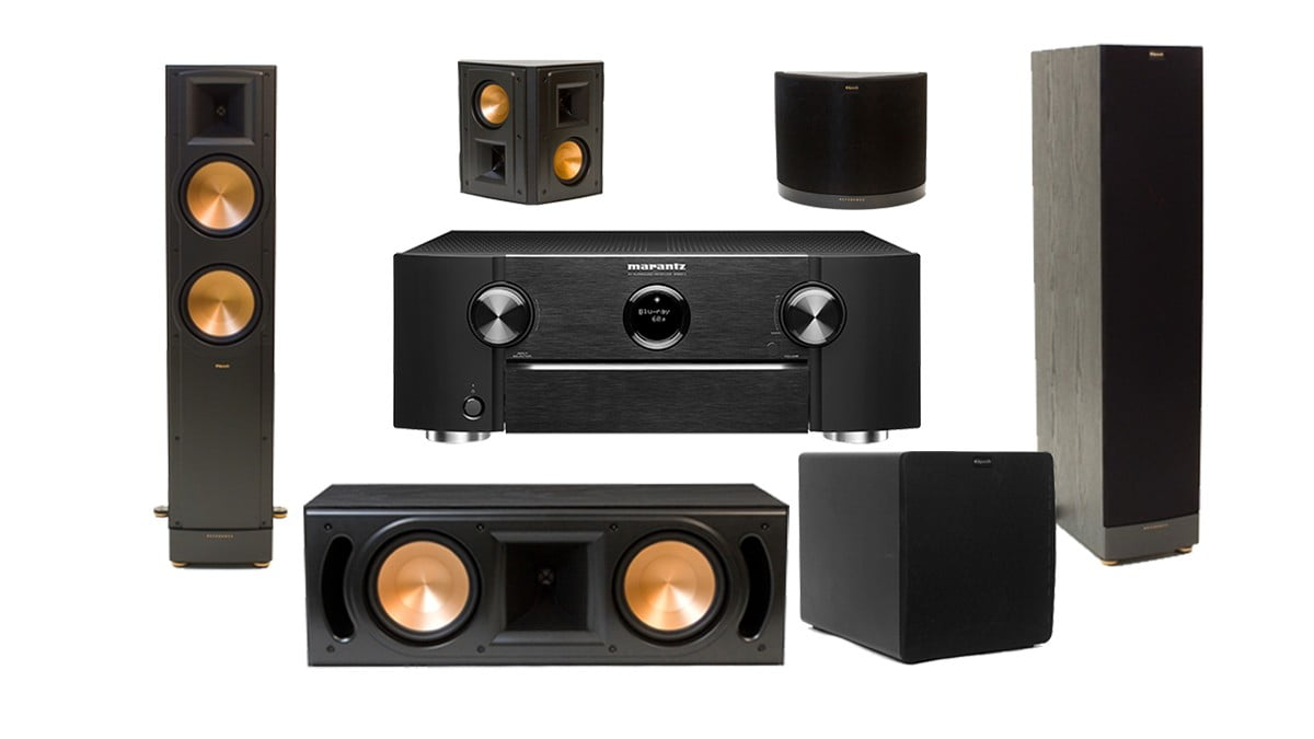 marantz sr6011 receiver klipsch rf 82 ii floor spkr rc 62 ii center spkr rs 42 ii surround. Black Bedroom Furniture Sets. Home Design Ideas