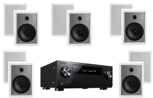 Pioneer VSX-831 5.2-Channel AV Receiver w/ Polk Audio MC85 High Performance In-Wall Speakers x5 - Bundle