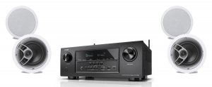 Denon AVR-S720W 7.2 B Stock Receiver w/ Polk Audio MC60 High Performance Round In-Ceiling Speakers x2 - Bundle