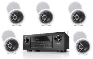 Denon AVR-S720W 7.2 B Stock Receiver w/ Polk Audio MC60 High Performance Round In-Ceiling Speakers x5 - Bundle