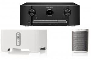 Marantz SR5011 7.1 Dolby Atmos 5.1.2, DTS:X- Bluetooth/Wi-Fi AV Receiver (B Stock) w/ Sonos PLAY:1 Compact Wireless Speaker w/ Sonos CONNECT CTNZPCA1 Wireless Adapter