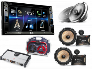 JVC KW-V230BT DVD Receiver w/ Focal PC165F 2-Way Car Silver Speakers w/ PS 165 FX Flax Cone 2-Way Component Kit x2 and EK21 4 AWG Elite Series Amplifier Wiring Kit - Bundle