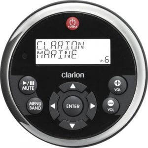 Clarion K-MW1 Watertight Wired Marine Remote Control with Black Face and Stainless Steel Bezel