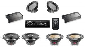 Pioneer DEH-80PRS In-Dash Bluetooth CD Receiver w/ Focal FPX 4.800 Amplifier w/ Focal FPX 1.1000 Amplifier w/ Focal PC165F Speaker x 2 w/ Focal PC165 Speaker x 2 w/ Focal 25A4 Subwoofer x 2 - Bundle