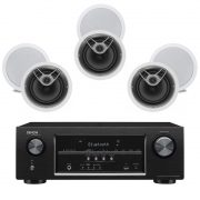 Denon AVR-S510BT 5.2CH B-Stock Receiver w/ Polk Audio MC80 In-Wall Round Speakers x3 - Bundle