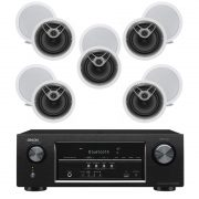 Denon AVR-S510BT 5.2CH B-Stock Receiver w/ Polk Audio MC80 In-Wall Round Speakers x5 - Bundle
