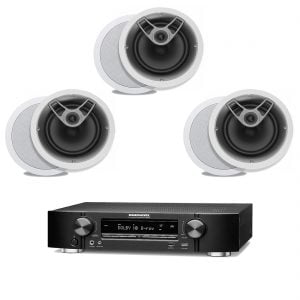 Marantz NR1506 B Stock 5.2 Channel Receiver w/ Polk Audio MC80 Round In-Ceiling Speakers x3 - Bundle