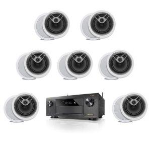 Denon AVR-X4300H 9.2 Channel B Stock Receiver w/ Polk Audio MC80 Round In-Ceiling Speakers x7 - Bundle