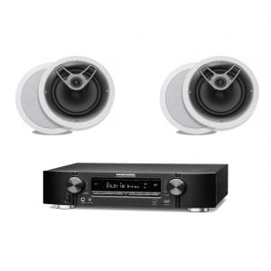 Marantz NR1506 B Stock 5.2 Receiver w/ Polk Audio MC80 Round In-Ceiling Speakers x2 - Bundle