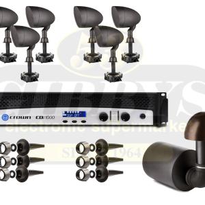 Paradigm Garden Oasis GO12SW Subwoofer w/ GO6 Satellite Speakers x 6 and Crown CDI 1000 Amp – Bundle