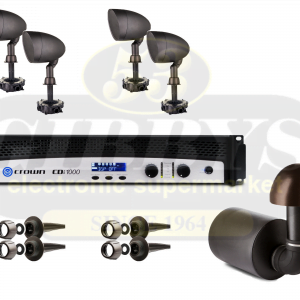 Paradigm Garden Oasis GO12SW Subwoofer w/ GO6 Satellite Speakers x 4 and Crown CDI 1000 Amp – Bundle