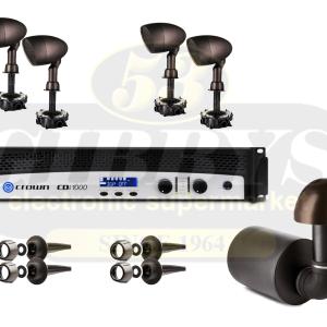 Paradigm Garden Oasis GO12SW Subwoofer w/ GO4 Satellite Speakers x 4 and Crown CDI 1000 Amp – Bundle
