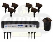 Klipsch Landscape PRO-10SW Half Burial Subwoofer w/ PRO-500T Satellite Speaker x 6 w/ PRO-10-GS Ground Stake x 6 and Crown CDI 1000 500W Amplifier - Bundle