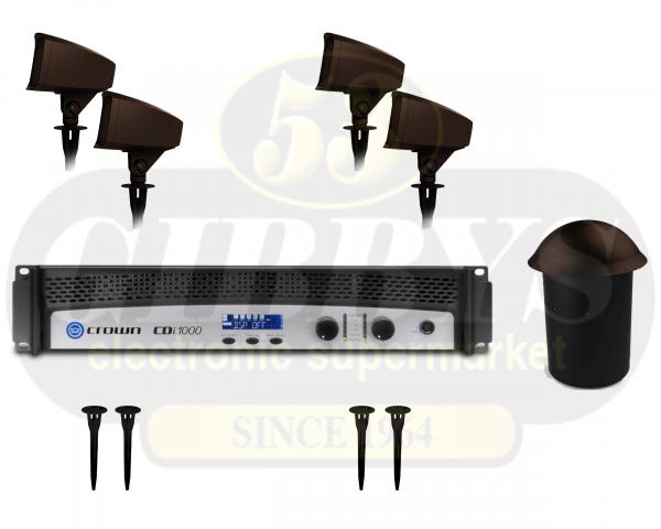 Klipsch Landscape PRO-10SW-LS Half Burial Subwoofer w/ PRO-500T-LS Satellite Speaker x 4 w/ PRO-10-GS Ground Stake x 4 and Crown CDI 1000 500W Amplifier – Bundle