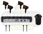 Klipsch Landscape PRO-10SW-LS Half Burial Subwoofer w/ PRO-650T-LS Speaker x 4 w/ PRO-18-GS Ground Stake x 4 and Crown CDI 1000 500W Amplifier