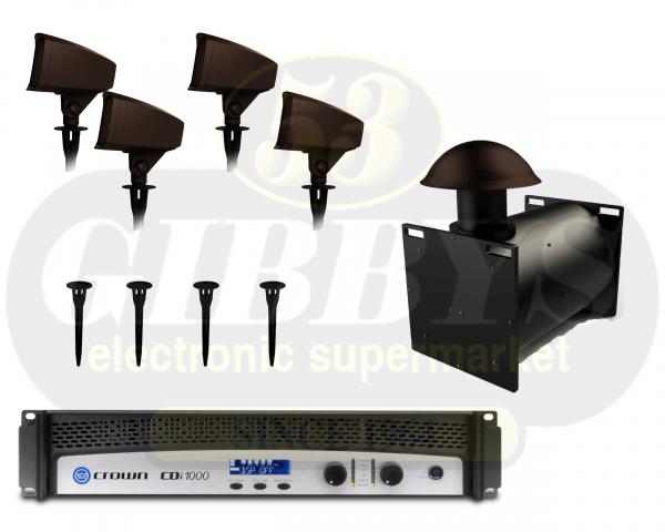 Klipsch Landscape PRO-12SW-LS Direct Burial Subwoofer w/ PRO-500T-LS Speaker x 4 w/ PRO-10-GS Ground Stake x 4 and Crown CDI 1000 500W Amplifier
