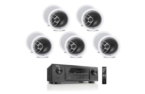 Denon AVR-S510BT 5.2 Receiver - B-Stock w/ Polk Audio MC60 6-1/2″ In-Ceiling Speakers x5 - Bundle
