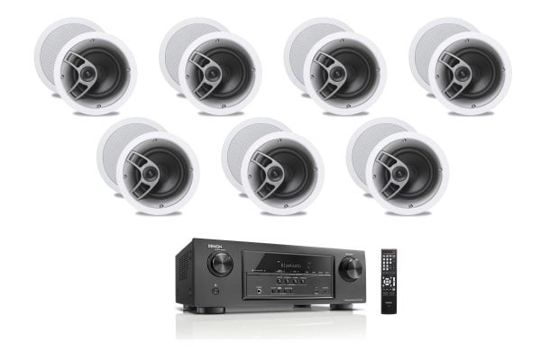 Denon AVR-S510BT 5.2 Receiver - B-Stock w/ Polk Audio MC60 6-1/2″ In-Ceiling Speakers x7 - Bundle