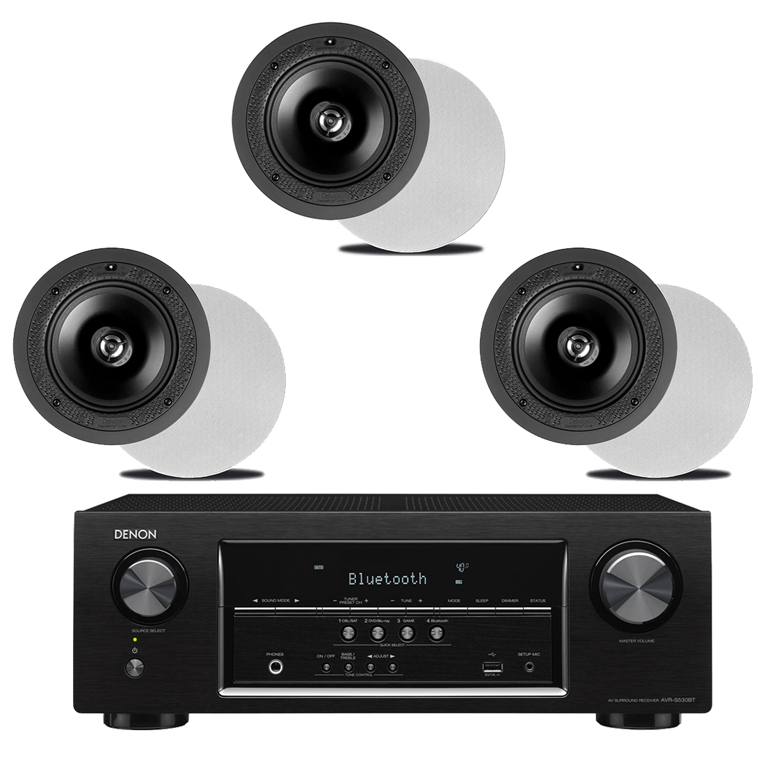 Denon AVR-S530BT 5 2 Receiver – B-Stock | Definitive Technology DI 6 5R  In-Wall Speakers x3 – Bundle