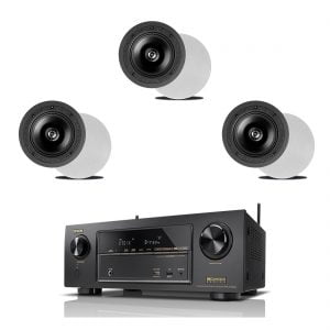 Denon AVR-X1300W 7.2 In-Command B Stock Receiver w/ Definitive Technology DI 6.5R In-Wall Speakers x3 - Bundle