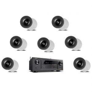 Denon AVR-X2300W 7.2 In-Command B Stock Receiver w/ Definitive Technology DI 6.5R In-Wall Speakers x7 - Bundle