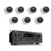 Denon AVR-S920W 7.2 B-Stock Receiver w/ Polk Audio MC80 High Performance 8 1/2″ Round In-Ceiling Speakers X7- Bundle