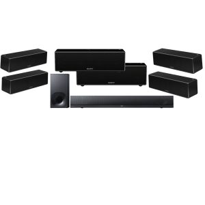 Sony HT-NT5 2.1 400W Soundbar and Bluetooth WiFi Wireless Subwoofer w/ Sony SRS-ZR7 Wi-Fi/Bluetooth Wireless Speaker x6 - Bundle