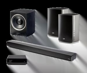 "Paradigm PW Soundbar 46"" w/ Paradigm Shift PW600 Premium Wireless Compact Stereo Speakers – Black Pair and Paradigm PDR-100 v.5 360 Watt Bass-Reflex, High-Velocity Powered Subwoofer - Bundle"