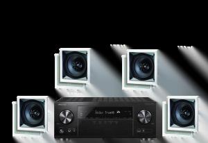 Pioneer VSX-831 5.2 Receiver w/ Paradigm CS-60SQ-SM v2 50W In-Wall Speakers x4 – Bundle