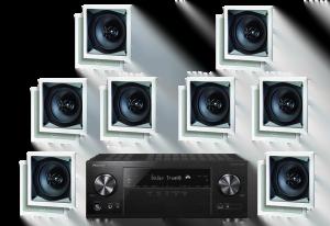 Pioneer VSX-831 5.2 B-Stock Receiver w/ Paradigm CS-60SQ-SM v2 50W In-Wall Speakers x8 – Bundle