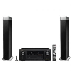 Definitive Technology BP-9080X Tower Speaker with Integrated Powered Subwoofer x2 w/ Denon AVR-X2400H HD Network AV Receiver with HEOS - Bundle