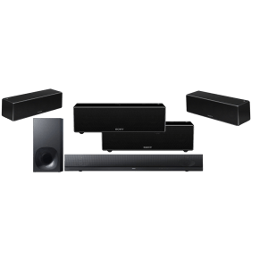 Sony HT-NT5 2.1 400W Soundbar and Bluetooth WiFi Wireless Subwoofer w/ Sony SRS-ZR7 Wi-Fi/Bluetooth Wireless Speaker x4 - Bundle