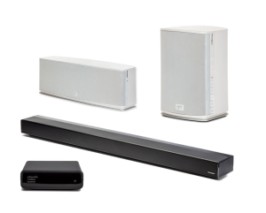 "Paradigm PW 46"" Soundbar w/ PW600 Premium Wireless Compact Stereo Speaker and PW800 Wireless Stereo Speaker - White - Bundle"