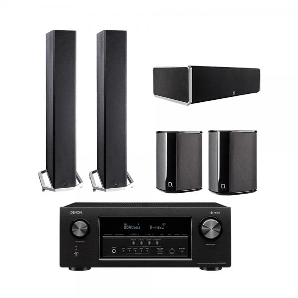 Definitive Technology BP9060 Tower Speakers x2 - CS9060 Center Channel Speaker - SR9040 Surround Speakers x2 - Denon AVR-S930H 7.2 Ch 4K Ultra HD AV Receiver - Bundle