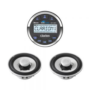 Clarion GR10BT Marine USB/MP3/WMA Gauge-style Receiver w/ CMG1622R 6-1/2″ Marine 2-Way Speakers - Pair – Bundle