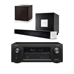 Definitive Technology W-Studio 5.1 Powered Sound Bar and Wireless Player w W7 2-Way Wireless Speaker and Denon AVR-X2400H 7.2 Ch AV Receiver wHEOS - Bundle