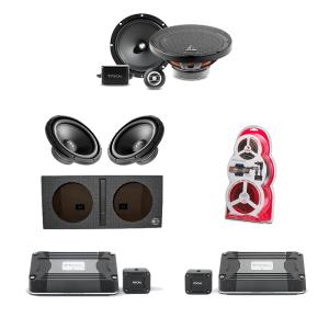 Focal FD 1.350 Compact Mono Sub Amp - FD2350 Compact 2-Channel Car Amplifier - PK8 Amp Kit - RSB300 12″ Subwoofer x2 - RSE-165 6.5″ Two-way Component Speaker Kit - Bassworx SWP212B 12″ Dual Slot-Port Subwoofer Enclosure - Bundle