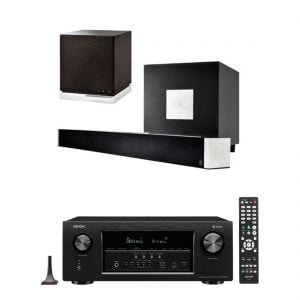 Definitive Technology W-Studio 5.1 Powered Sound Bar and Wireless Player w/ W7 2-Way Wireless Speaker and Denon AVR-S930H 7.2 Ch AV Receiver w/HEOS - Bundle