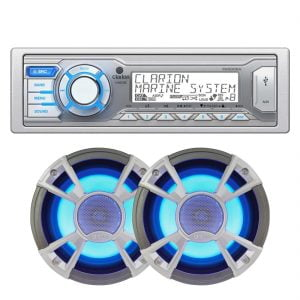 Clarion M505 Marine Digital Media Receiver w/ CMQ1622RL 2-Way Water Resistant Coaxial 120W Blue LED Speakers – Pair - Bundle