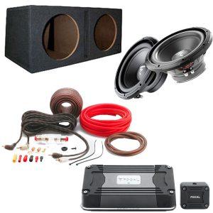 "Focal RSB250 10"" Subwoofer x2 w/ Bassworx SWP210B 10″ Dual Slot Subwoofer Enclosure w/ Focal FD 1.350 Mono Sub Amp and Focal PK8 8 Gauge Performance Amp Kit - Bundle"