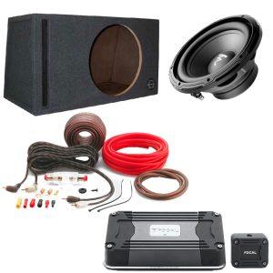 "Focal RSB300 12"" Subwoofer w/ Bassworx SWP12B 12″ Slot-Port Subwoofer Enclosure w/ Focal FD 1.350 Compact Mono Sub Amp and PK8 Amp Kit - Bundle"