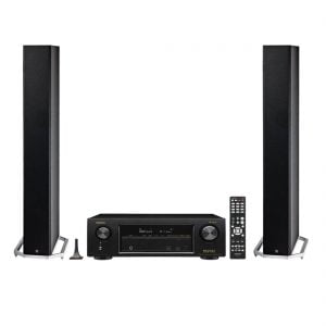 Definitive Technology BP-9040 Bipolar Tower Speaker x2 and Denon AVR-X1400H In-Command Receiver with HEOS Technology - Bundle