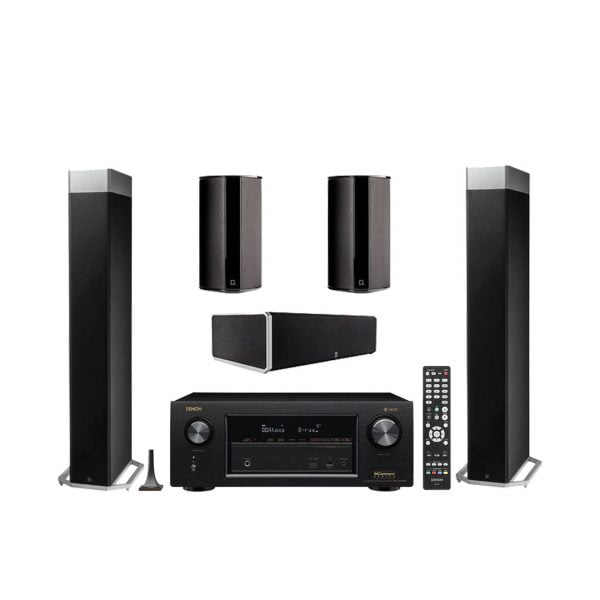 Definitive Technology BP-9080X Tower Speakers with Integrated Powered Subwoofer x2 w/ CS9080 Center Channel Speaker w/ SR-9080 Bipolar Surround Speakers x2 and Denon AVR-X2400H Network AV Receiver with HEOS - Bundle