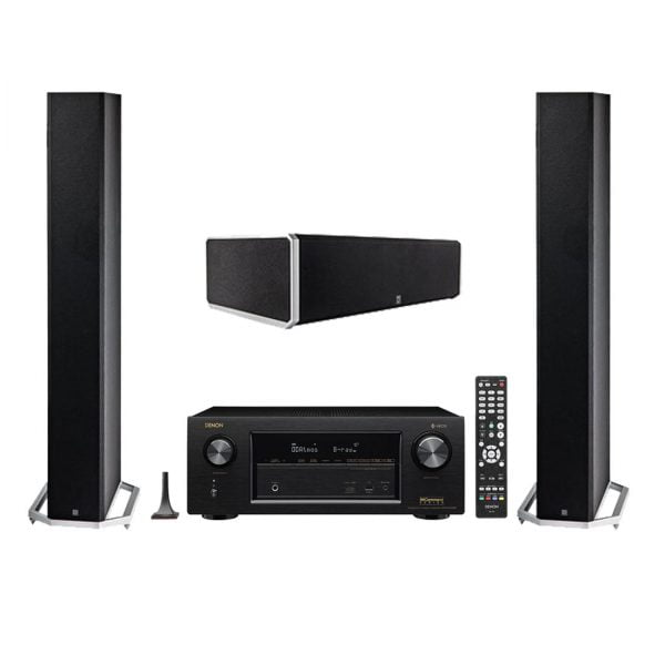 Definitive Technology BP-9060 High-performance Bipolar Tower Speakers x2 w/ CS9060 Center Channel Speaker and Denon AVR-X2400H AV Receiver with HEOS - Bundle